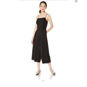 Kensie Black Stretch Crepe Cropped Jumpsuit
